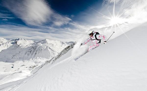 лыжник, склон, снег, солнце