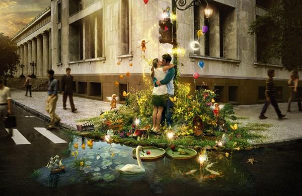 Парень целует девушку в цветах