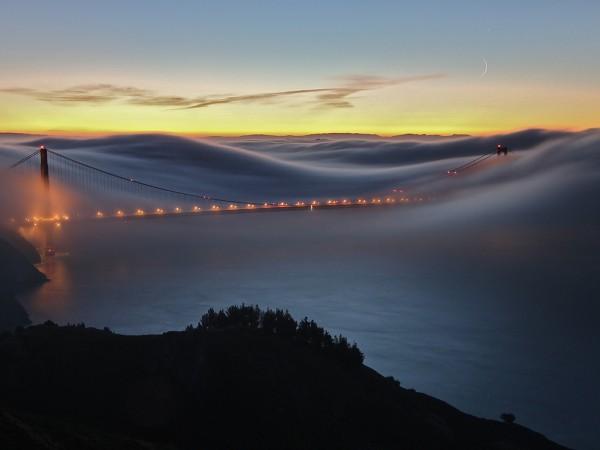 Мост золотые ворота в тумане, красота, спокойствие, вечер, умиротворение, огни, море, берег
