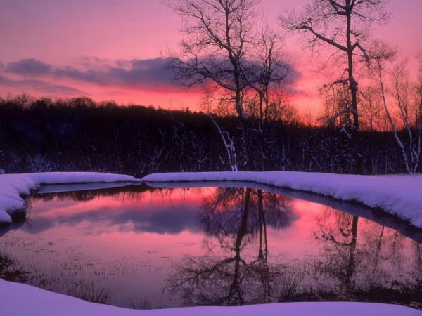 Сонный багровый закат в зимнем лесу у заснеженного водоема